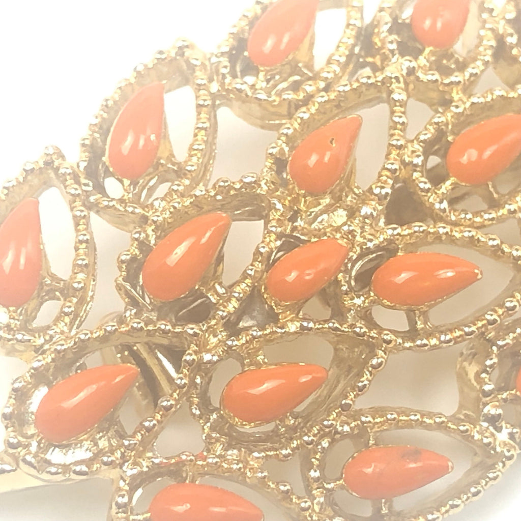 Vintage GERRYs Gold Tone Leaf Brooch Pin With Orange Enamel Accents