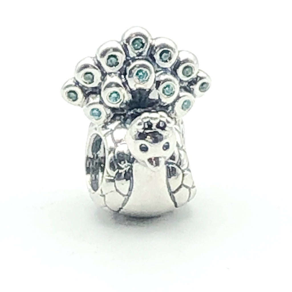 PANDORA Peacock S925 ALE Sterling Silver Charm Animal Bead With Green And Aqua Cubic Zirconia 791227MCZ - Retired