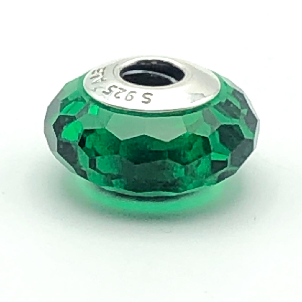 PANDORA Emerald Green Fascinating Faceted Glass S925 ALE Sterling Silver Charm Bead 791619 - Retired
