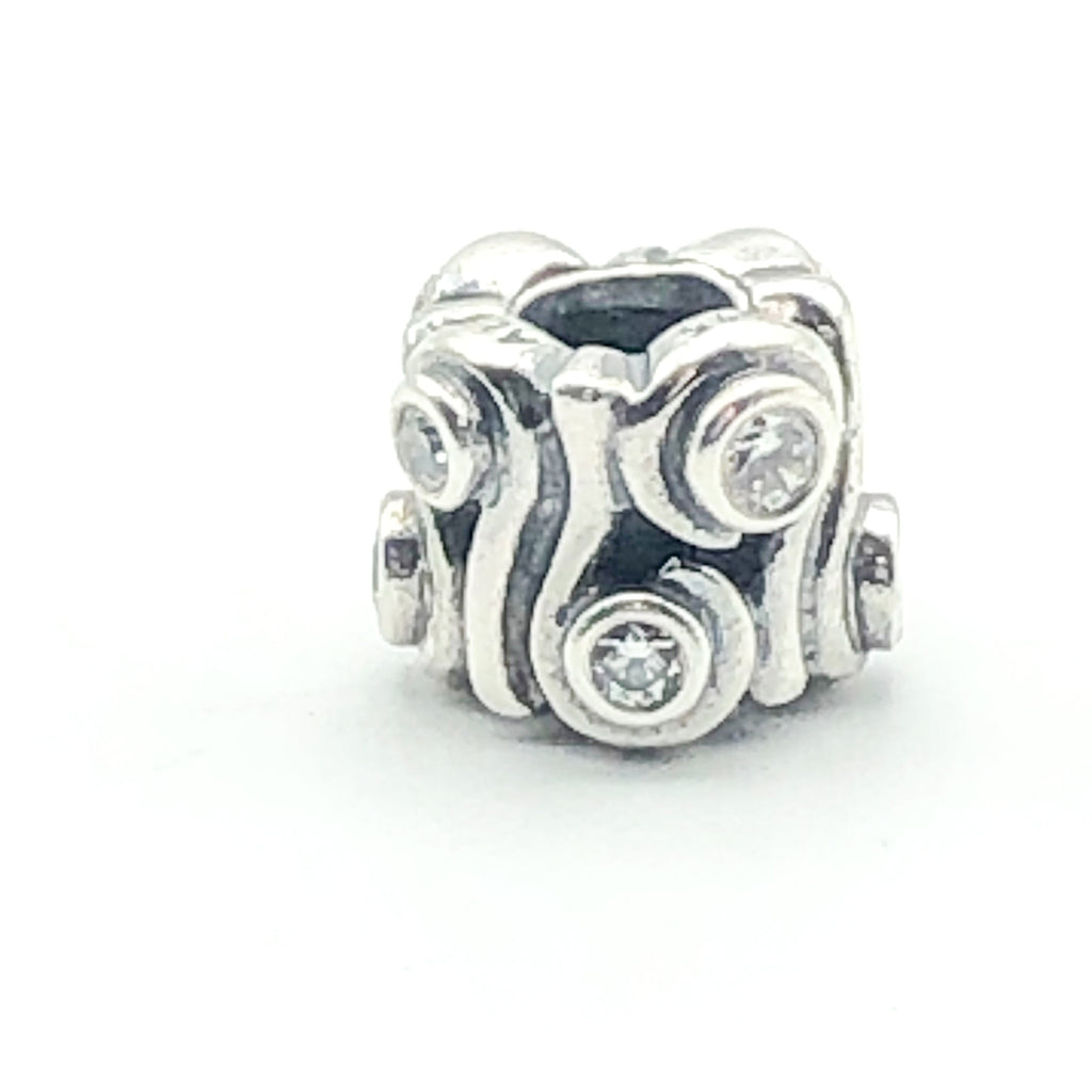 PANDORA Ocean Wave 925 ALE Sterling Silver Charm With Clear Cubic Zirconia 790369CZ - Retired