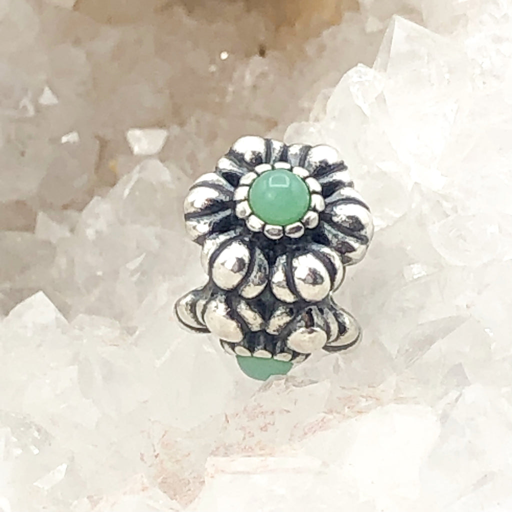 PANDORA May Birthday Blooms S925 ALE Sterling Silver Charm Bead With Chrysoprase 790580CH - Retired