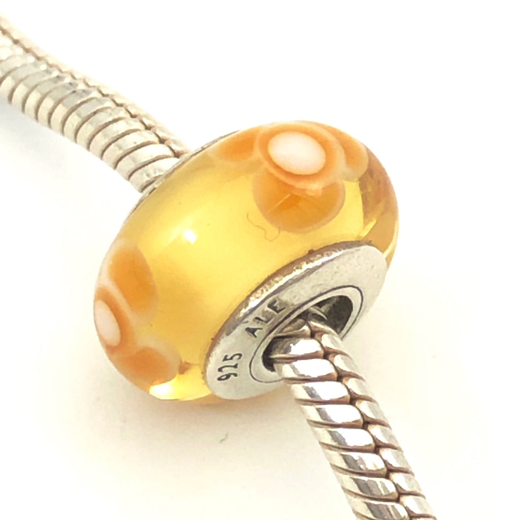 PANDORA Yellow Flowers For You 925 ALE Sterling Silver Murano Glass Charm Bead 790645 - Retired