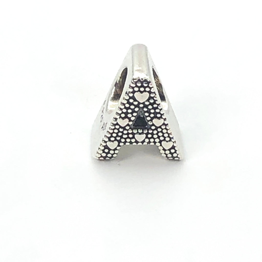 PANDORA Open Letter A S925 ALE Sterling Silver Alphabet Charm With Heart Pattern - 797455
