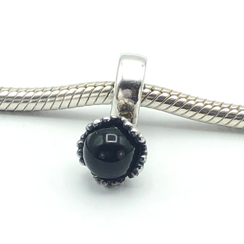 PANDORA Ball Pendant Sterling Silver With Black Onyx Charm Bead 790379O - Retired