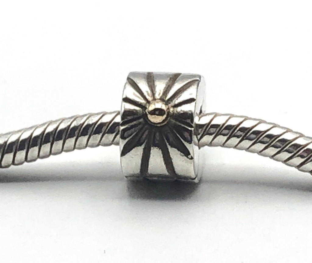PANDORA Sunburst CLIP CHARM Bead #790216 Sterling Silver With 14K Gold Accent Retired