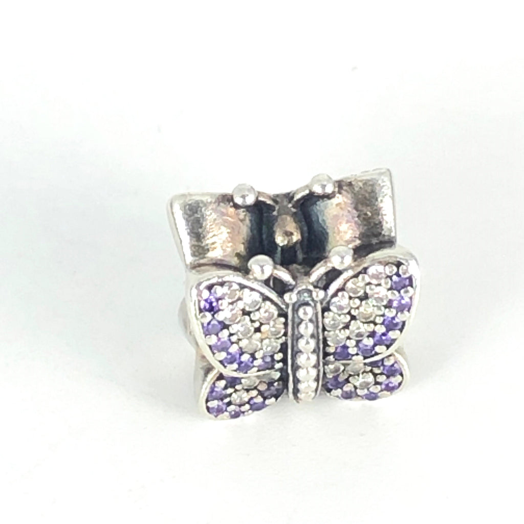 PANDORA Sparkling Butterfly Sterling Silver Charm With Lavender And Purple Cubic Zirconia