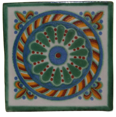 "12 Mexican Hand Painted Talavera Tile Set  4"" X 4"""