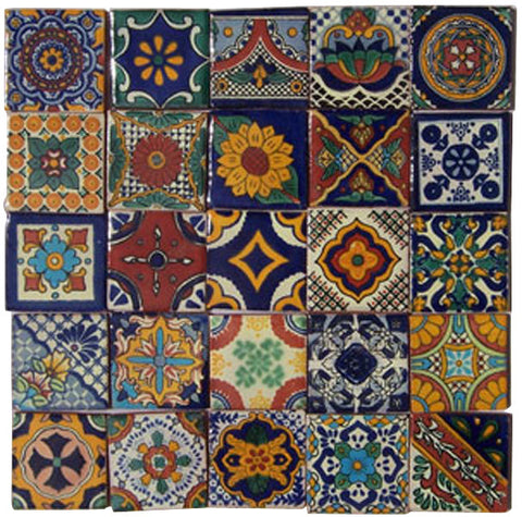 "50 Hand Painted Talavera Mexican Tiles 2""x2"""