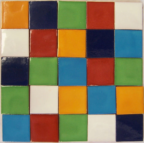 "110 Hand Painted Talavera Solid Mexican Tiles 2""x2""-"