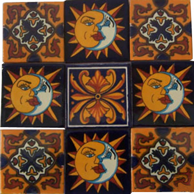 "9 Mexican Hand Painted Custom Talavera Tile Set 4"" X 4"""