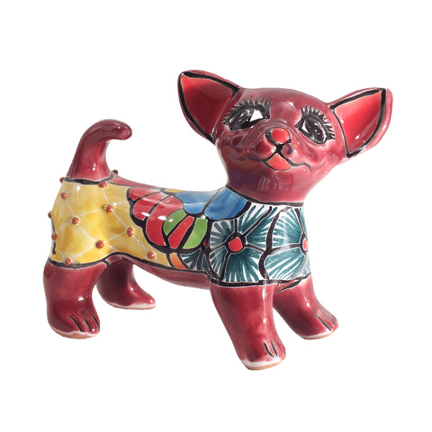 Charming Talavera Chihuahua Figure Handpainted Dog