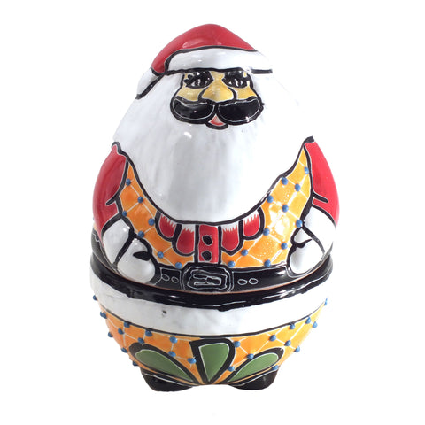 Authentic Handpainted Mexican Talavera Santa Clause Christmas Cookie Jar
