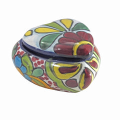 Handpainted Talavera Heart Shaped Jewelry Ring Box