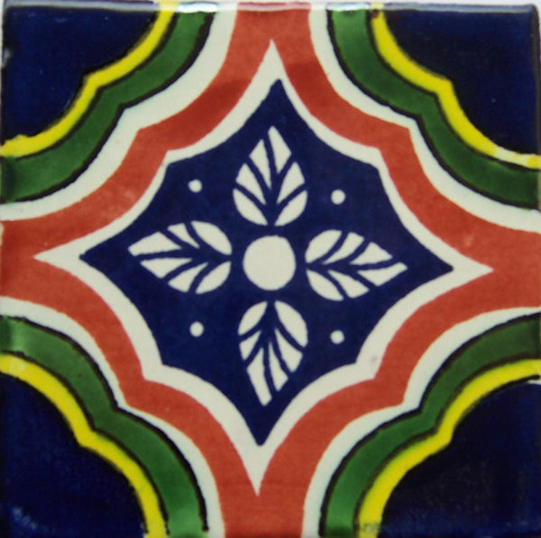 "12  Mexican Hand Painted Talavera Tiles 4"" X 4"""