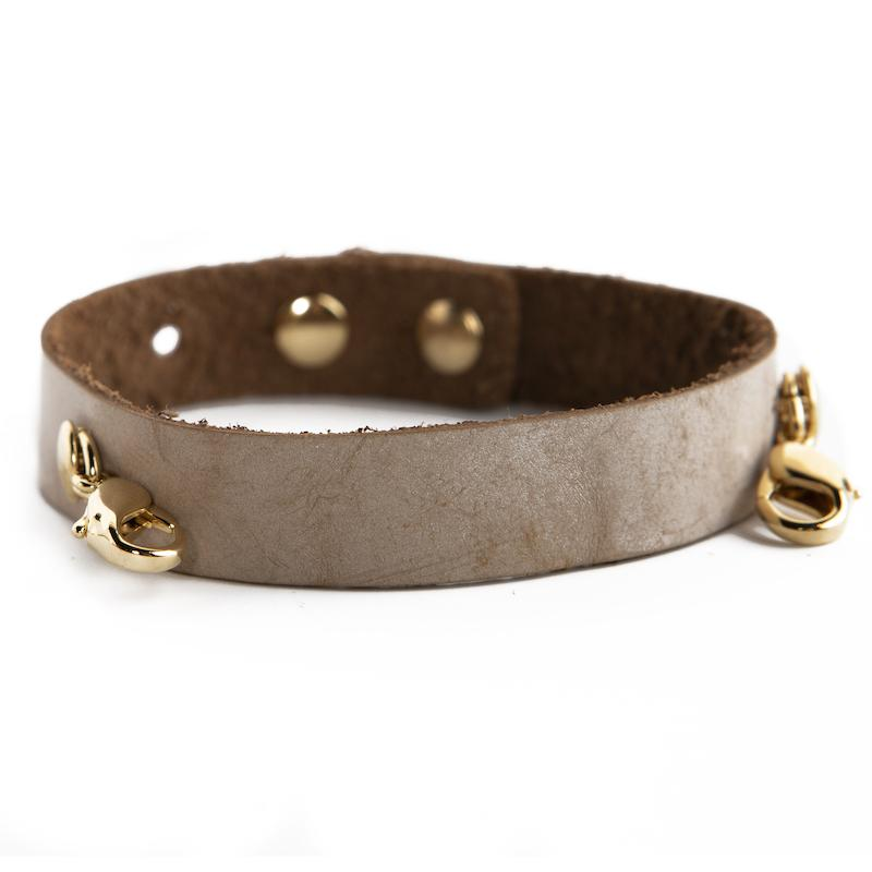 Bone Leather Cuff [gold finish]