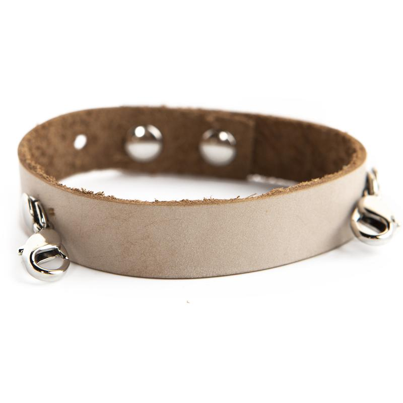 Bone Leather Cuff [silver finish]