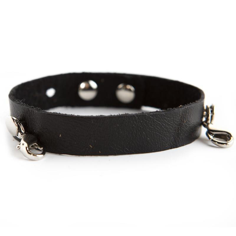 Black Leather Cuff [silver finish]