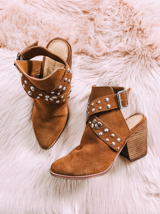 SMALL TOWN SPLIT booties [rusty brown]