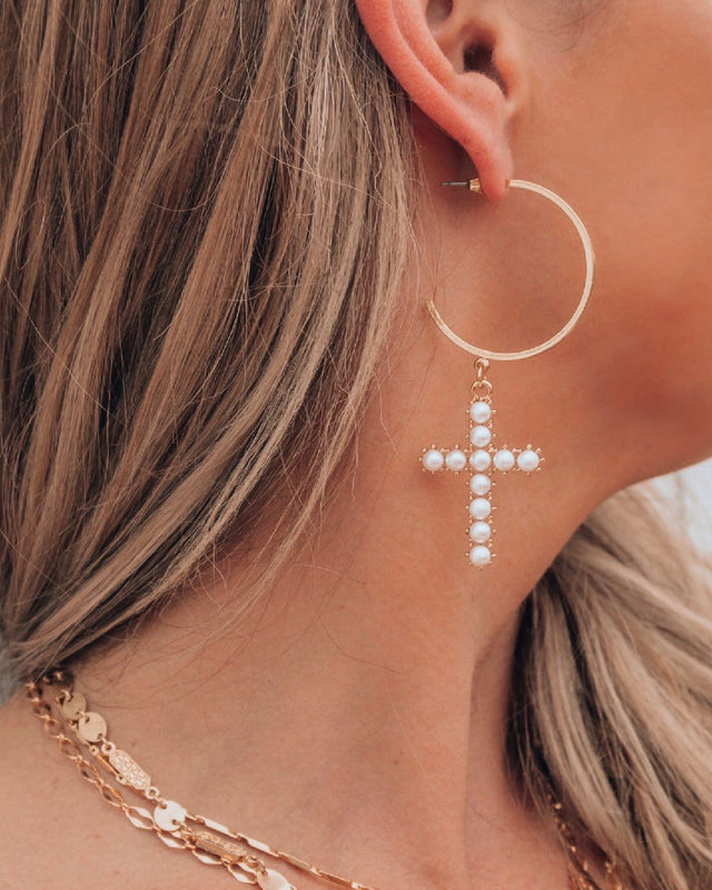 CROSS PEARL EARRINGS [gold]