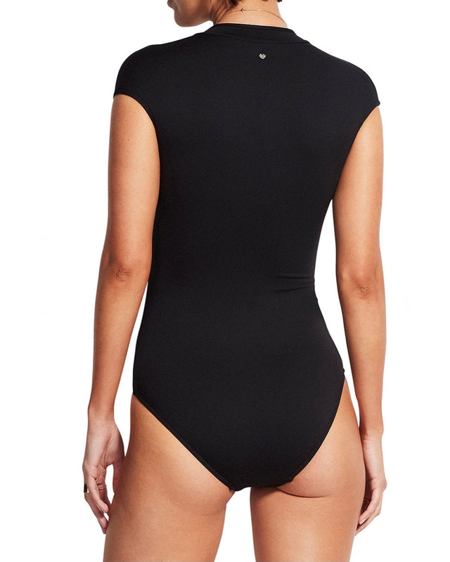 Zip Front One Piece [black]