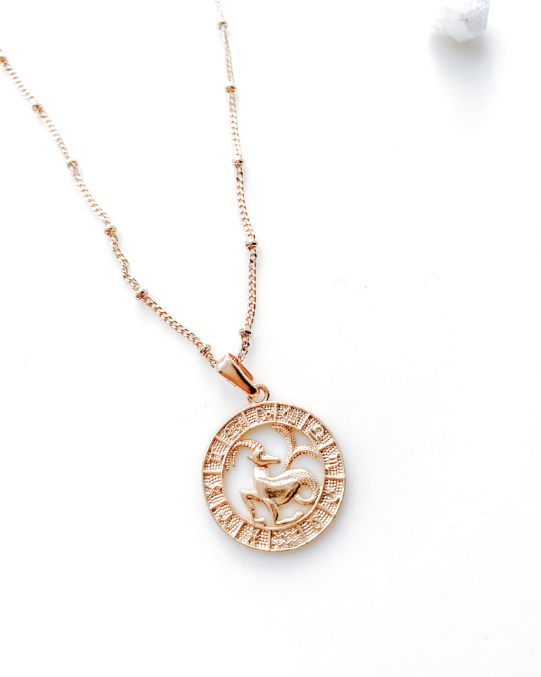 Goldie zodiac necklace [gold ball chain]