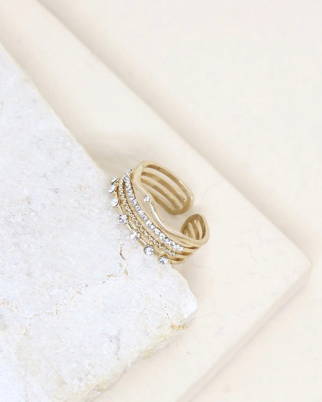CRYSTAL & GOLD stacked ring [gold]