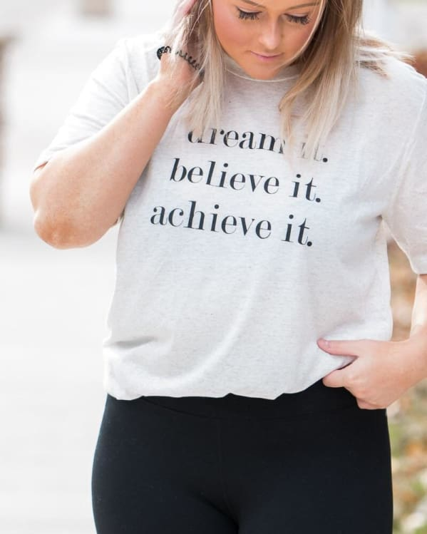 Dream It. Believe It. Achieve It. Tee [Oatmeal] Graphic Tees Urban Escape