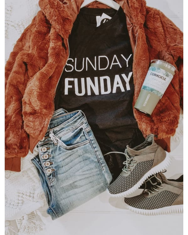 Sunday Funday Unisex Tee [Heather Black] Graphic Tees Urban Escape