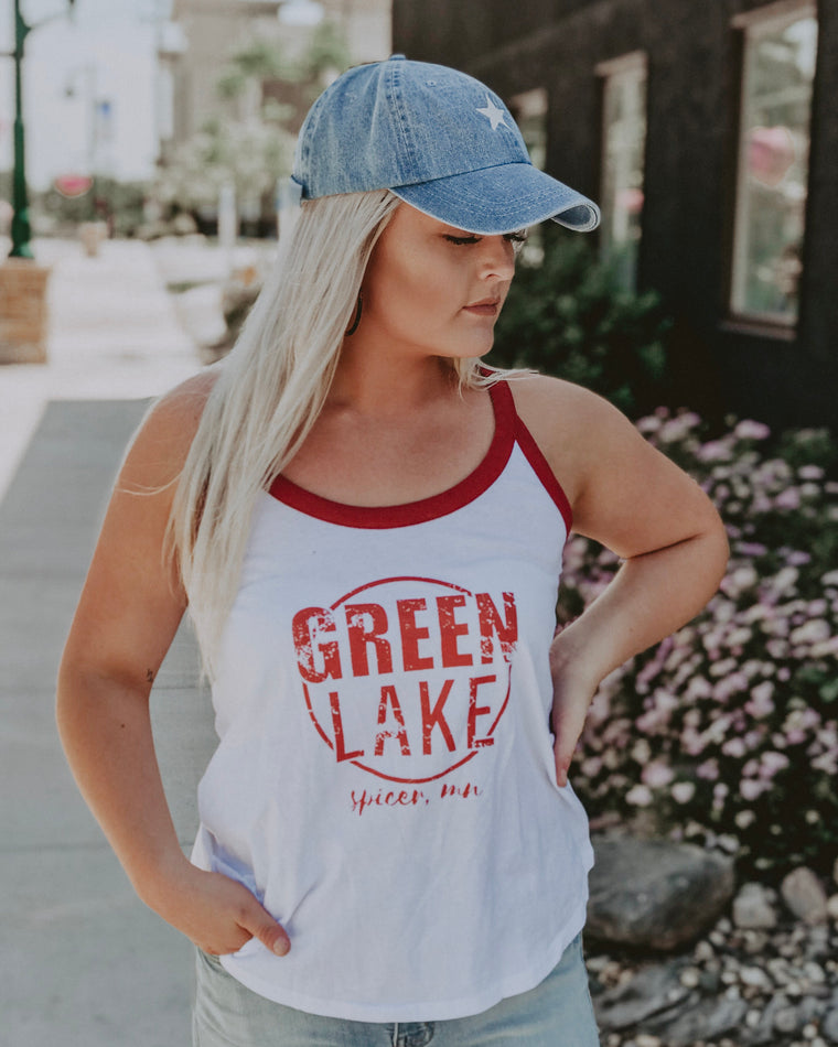 GREEN LAKE VIBIN women's ringer tank [red]