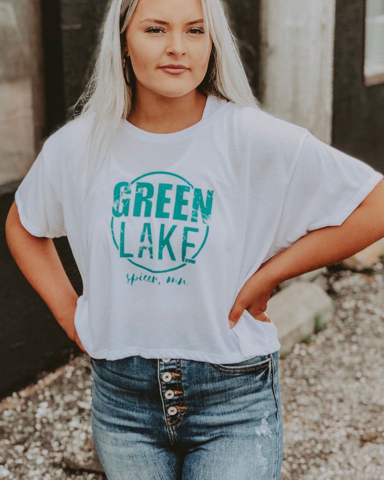 GREEN LAKE VIBIN tee [white/turq]
