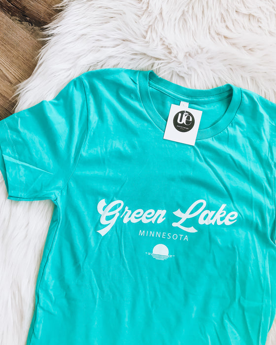 green lake sunset [aqua/white]