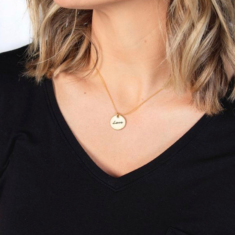 Small Circle Pendant BELIEVE [gold]