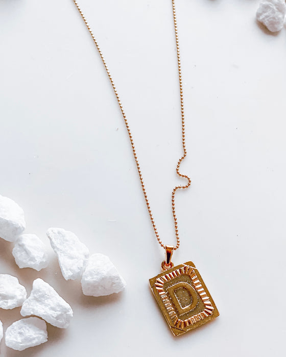 mila initial necklace on GOLD MINI BALL CHAIN