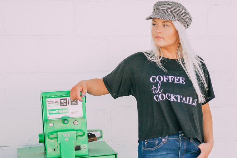 COFFEE til COCKTAILS tee [black/white]