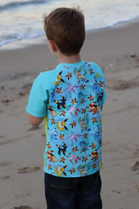 'Little Critters' Fox Blue Cotton Lycra 220-240gsm 50cm
