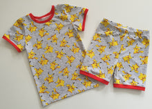 Load image into Gallery viewer, 'Little Critters' Yellow Dude Grey Bamboo Lycra 50cm