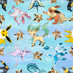 'Little Critters' Fox Blue Bamboo Lycra 50cm