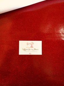 Glitter Vinyl Fabric - #09 Red A4 Sheet
