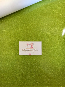Glitter Vinyl Fabric - #14 Lime Green A4 Sheet