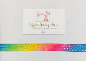 15mm Wide Pattern FOE Rainbow Ombre with Gold Foil Dots