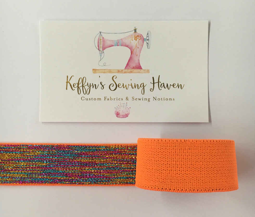 23mm Glitter Waist Elastic - Orange