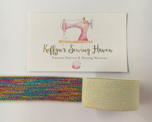 23mm Glitter Waist Elastic - Cream
