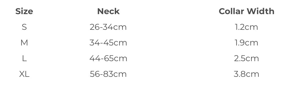 EzyDog Double Up Collar Size Chart