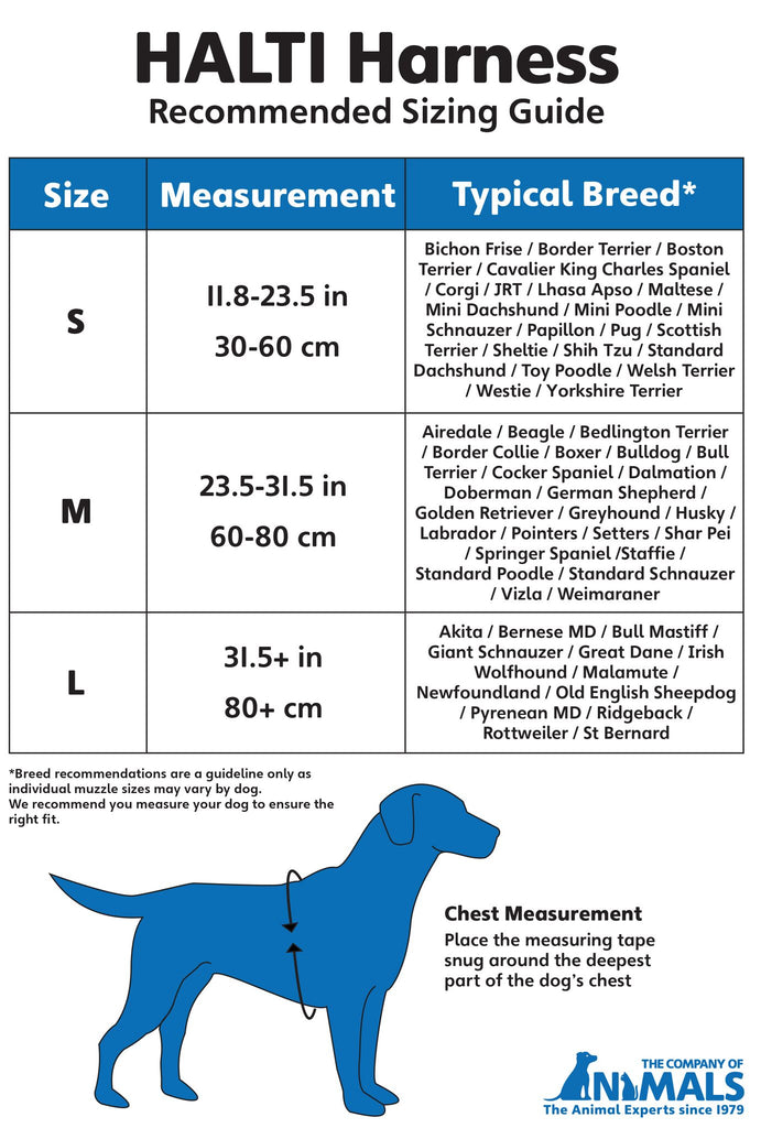 HALTI Harness Size Chart and Measuring Instructions