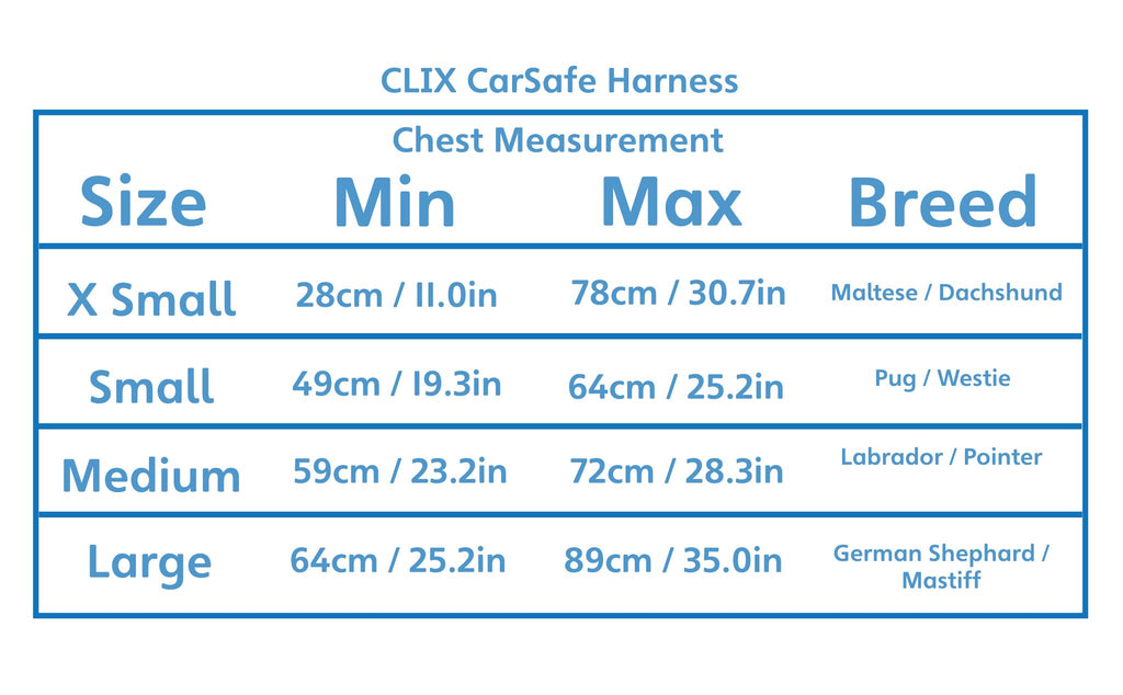 CLIX CarSafe Dog Harness Size Chart