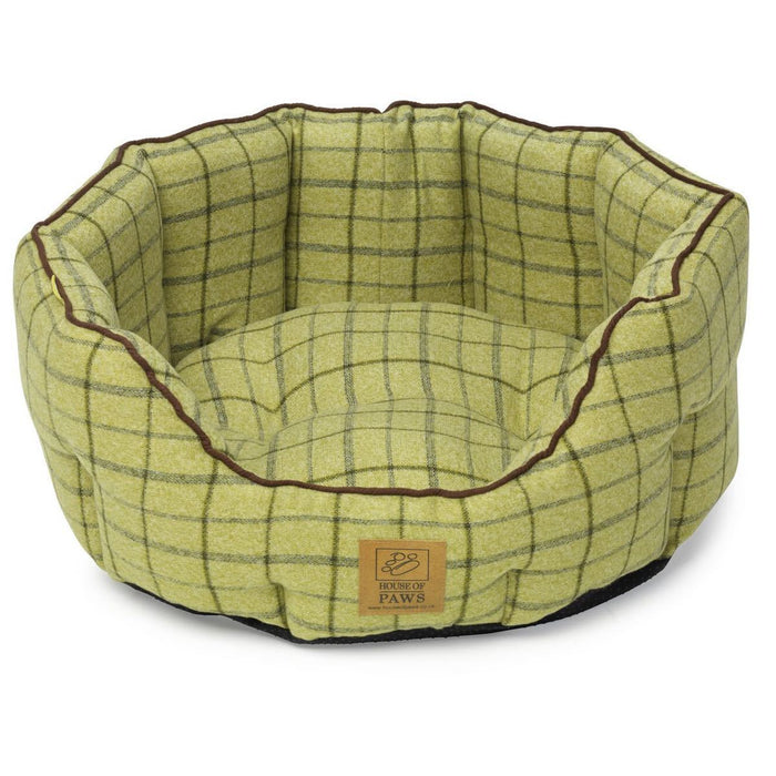 House of Paws Green Tweed Oval Snuggle Dog Bed