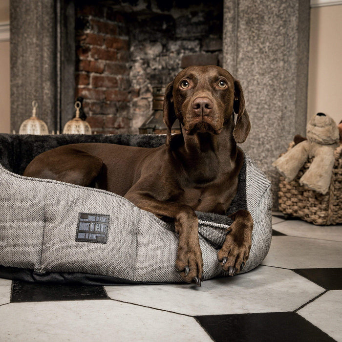 House of Paws Grey Hessian & Plush Oval Dog Bed