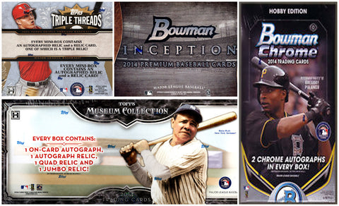 2014 MLB 4-box MIXER - 2 Random Teams per Spot (Bowman Chrome Hobby Box, Triple Threads Hobby Box, Topps Inception Hobby Box & Topps Museum Collection Hobby Box)