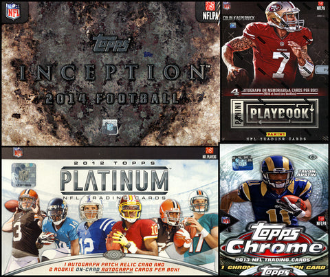 NFL 5-box MIXER - 2 Random Teams per Spot (2x2013 Panini Playbook FB Hobby Box, 2013 Topps Chrome FB Hobby Box, 2012 Topps Platinum FB Hobby Box & 2014 Topps Inception FB Hobby Box)