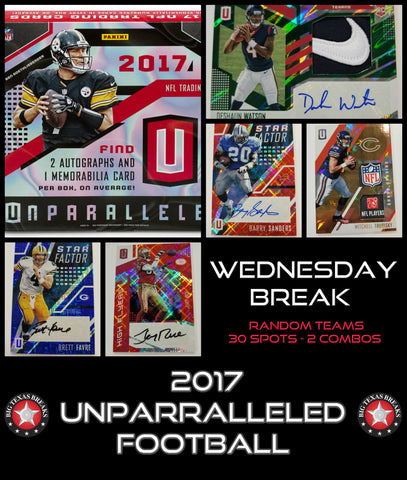 8/9/17 #1 2017 Unparalleled Football 8-box Break - Random Teams (30 Total Spots)